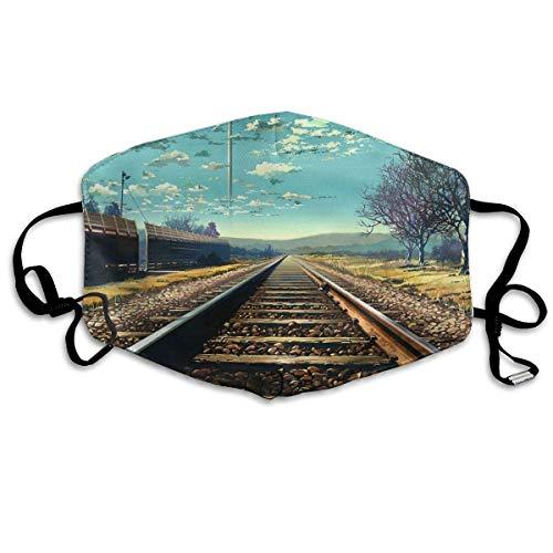 Einzigartige Paare Für Kostüm Erwachsene - Monicago Einzigartige Unisex-Mundmaske, Gesichtsmaske, Train Railway Track Art Polyester Anti-dust Masks - Fashion Washed Reusable Face Mask for Outdoor Cycling