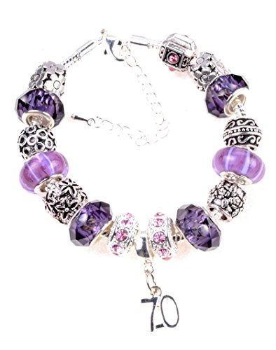 70th-birthday-purple-and-lilac-themed-murano-charm-bracelet-pandora-style-with-gift-box-and-complime