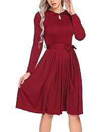 Parabler Damen Skaterkleid Bubikragen Jerseykleid Langarm Stretch Basic  Kleider Freizeitkleid Knielang Winterkleid Party Cocktaikleid… 76e7e43902