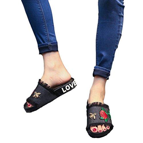 JITIAN Damen Mädchen Jeans Pantoffeln Handgefertigte Stickerei Blume Flache Sandalen (Mädchen Sandalen Dressy)