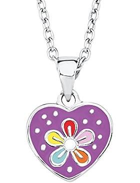 Prinzessin Lillifee Kinder-Kette mit Anhänger Herz und Blume 925 Silber rhodiniert Emaille lila