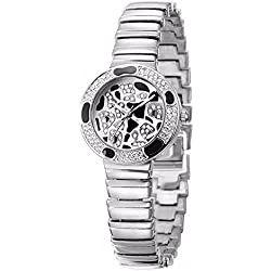 Fashion Leopard Spotluxury Rhinestone Alloy Strap Quartz Women Wrist Watch,Silver