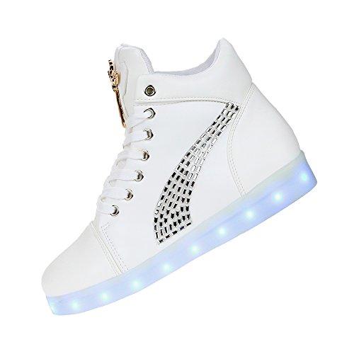 Luminosas 2017 Casualmente 8 De Crescendo Cores Couro Sapatos Top Moda High Branco Xianv Inserido Um TYfUwqvU