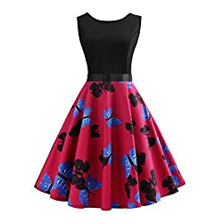 NEEDRA Sales! Women Retro Sleeveless O Neck Butterfly Musical Note Printed Evening Party Prom Swing Dress