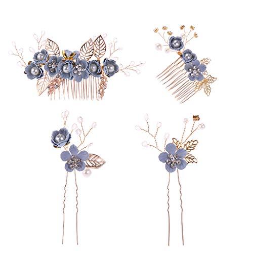 Cutebility 1 Set Haarkamm Haarnadeln Blau handgefertigt Blume Blume Perle Golden Blatt Luxus Hochzeit Braut Kopfschmuck Dekoration Frauen Haarschmuck Kopfschmuck Sticks Geschenke Party (Blau Und Gold Perlen)