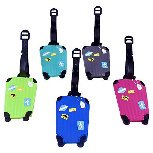 5pz Etichette Valigie Aereo Colorate Carine Accessori per Bagaglio Silicone Resistente Tag per Borsa da Viaggio