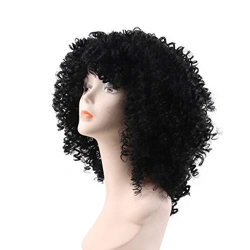 hes kleines lockiges Haar flauschige langes lockiges Haar europäisch-amerikanische Damen Perücke Rosennetz ()