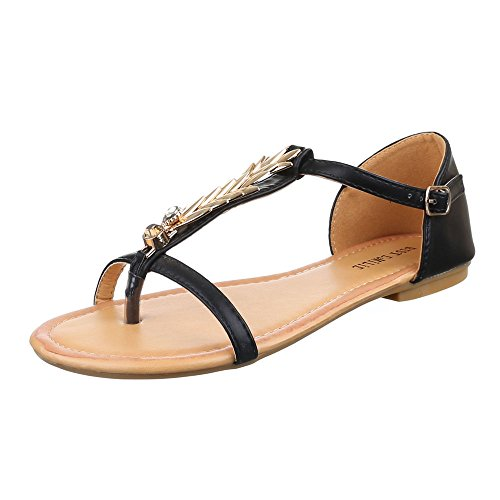 Damen Schuhe, 1021-13, SANDALEN ZEHNENTRENNER MIT DEKO Schwarz