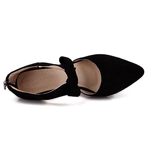 VogueZone009 Femme Pointu Tire Pu Cuir Couleur Unie Stylet Chaussures Légeres Noir