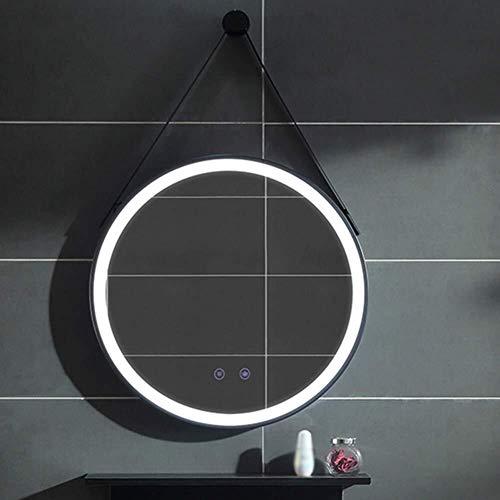 QZ Montado en la Pared de Maquillaje Frontera Negro Espejo Redondo LED con el Interruptor de la luz...