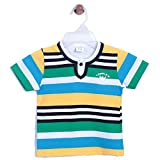 CHIMPRALA Yellow & Blue Half Sleeves Round Neck Striped Tshirt for Boys for 0-6 months