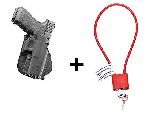 Glock 21 Holster & Cable Gun Lock, Fobus Tactical Retention Paddle Holster for Glock 20, 21, 21SF, 37, 41, ISSC M22 pistol (Airsoft Shotgun-holster)
