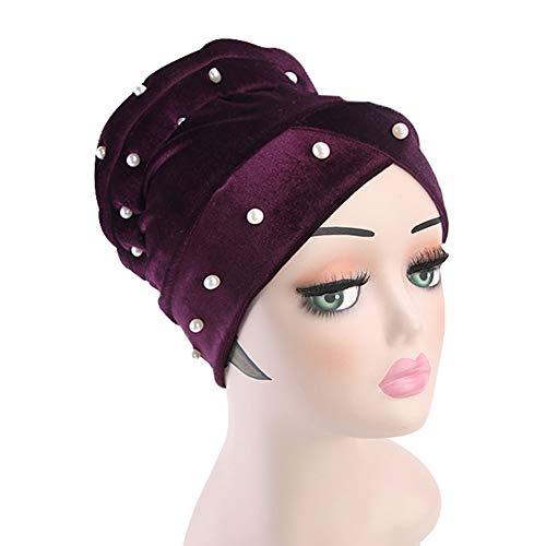 xMxDESiZ Winter Velvet Faux Pearl Women Turban Head Wrap Muslim Hijab Chemo Hat Beanie (Gnome Dodger)