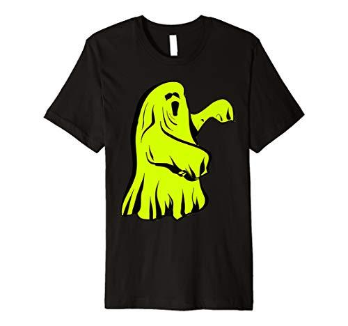 Neongrünes Halloween-Geist-Kostüm-T-Shirt (Skelett Hausgemachte Kostüme Für Kinder)
