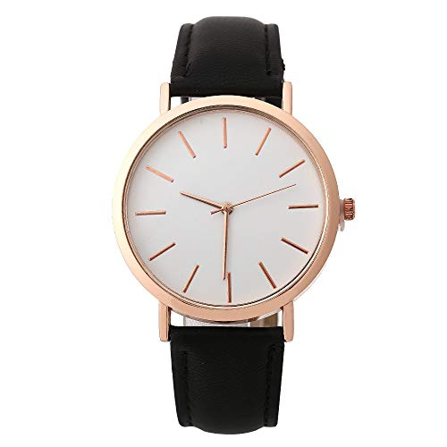 Deloito Damen Mode Beiläufig Uhr Lederband Schnallenverschluss Runden Uhren Legierung Analoge Quarz Armbanduhren (Schwarz)