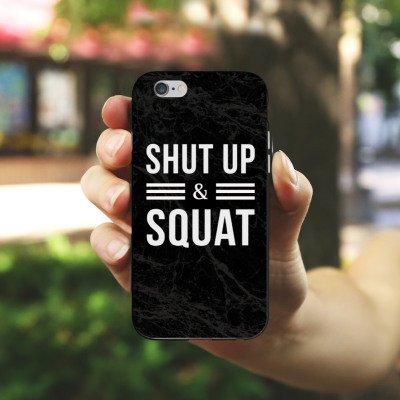 Apple iPhone X Silikon Hülle Case Schutzhülle Squat Fitness Statements Silikon Case schwarz / weiß