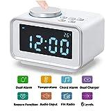 Radiowecker Funkuhr Digital Wecker ,LUXACURY FM Radiowecker Multifunktions Radio wecker mit Dual-Alarm,Innenthermometer, Snooze-Funktion, 6-stufige Helligkeit, Dual USB-Ladeanschluss