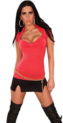 In-Style Damen Bolero-Shirt mit V-Ausschnitt einfarbig Einheitsgröße (34-38) Coral