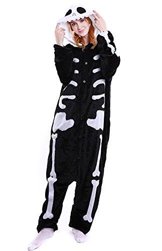 ABYED® Kostüm Jumpsuit Onesie Tier Fasching Karneval Halloween kostüm Erwachsene Unisex Cosplay Schlafanzug- Größe XL -for Höhe 175-181CM, - Schädel Kostüm