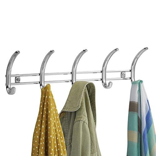 mDesign Hakenleiste aus Metall ? Wandgarderobe mit 10 Garderobenhaken ? zur Aufbewahrung von Mänteln, Jacken, Schals, Handtüchern ? chromfarben