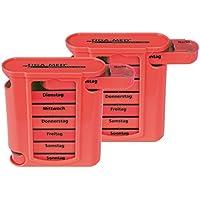 Medikamentendosierer rot Pillendose Pillenbox 2 Stück Tablettenbox Medikamentenspender 7 Tage Original Tiga-Med... preisvergleich bei billige-tabletten.eu