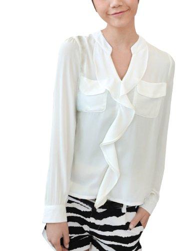 Lady col V à manches longues Semi transparent Founcing Chemisier avant-Blanc-Xs Blanc