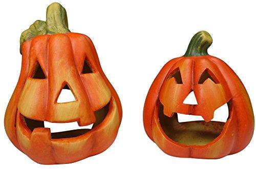 khevga Halloween decoración de Calabaza Cerámica candelero Conjunto de 2