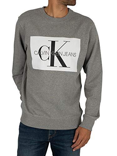 Calvin Klein Jeans Herren Herden-Monogramm-Sweatshirt, Grau, XL - Herde Jumper