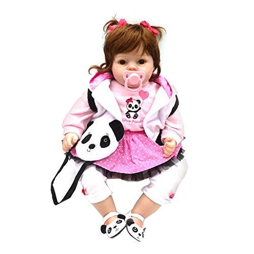Wanfor 50 cm Nette Mädchen Babydoll Panda Mantel Mini Tasche Lebensechte Silicon Kinder spielzeug Frühe Kindheit