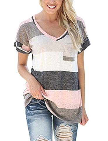 Liqy Women Colourful Striped Summer Short Sleeve V-Neck Blouse Tops Shirt,Striped short