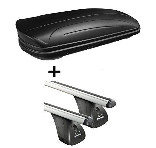 Dachbox VDPMAA320 320Ltr abschließbar schwarz matt + Aluminium Dachträger Aurilis Original kompatibel mit Nissan Juke (5Türer) ab 2010