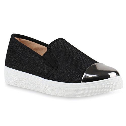 Damen Sneakers Slip-ons Lack Glitzer Metallic Slipper Schuhe Schwarz Lack