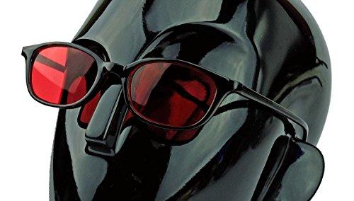 kleine Retro Sonnenbrille für schmale Gesichter 50er 60er Jahre Vintage Modell LFB (Slim: Rote Gläser)