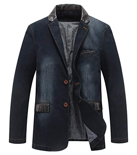 Itemnew Herren Sportjacke, Gekerbtes Kragen, 2 Knöpfe, Slim Distressed Denim - Blau - S Distressed Denim Jacket