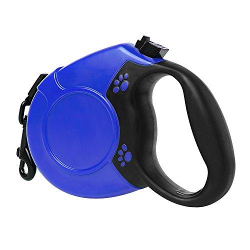 Einziehbare Hundeleine, Greleaves Pet Automatisches Teleskop-Hunde-Traktionsseil mit Doppelte Taste und Zinklegierungshaken und 16 FT Nylon Flachriemen f¨¹r S / M / L Haustier (bis 100 lb)