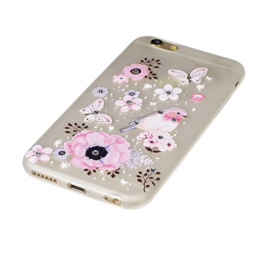 Cover iPhone 6S Plus, Custodia iPhone 6 Plus, CaseLover TPU Silicone Notte Luminosa Custodia per Apple iPhone 6S Plus / 6 Plus (5.5 pollici) Ultra Sottile Glitter Brillantini Bling Strass Caso Copertu Fiore e animale