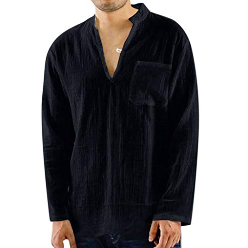 BHYDRY Mens Vintage atmungsaktive dünne V-Ausschnitt solide lose Brusttasche T Shirts Blusen -