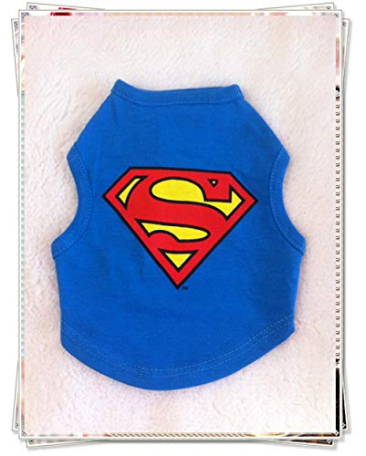 Kostüm $20 Clearance Unter - Dog Clothes Spring and Autumn Teddy Vest Chihuahua Than Bear pet Puppies Clothing Cotton Breathable Clearance Specials@Blue Superman_S Bust 34 Back Length 20