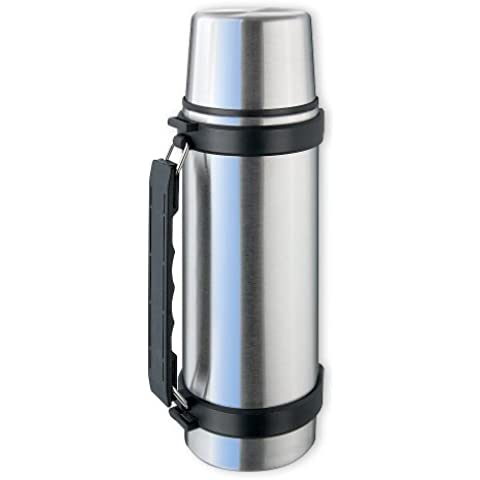 Isosteel VA-9552Q - Termo al vacío (con vaso, asa y sistema de vertido con 1 mano, 0,75 L, acero inoxidable 18/8), color plateado y negro