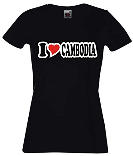 T-Shirt I Love Heart Damen V-Ausschnitt I LOVE CAMBODIA Schwarz