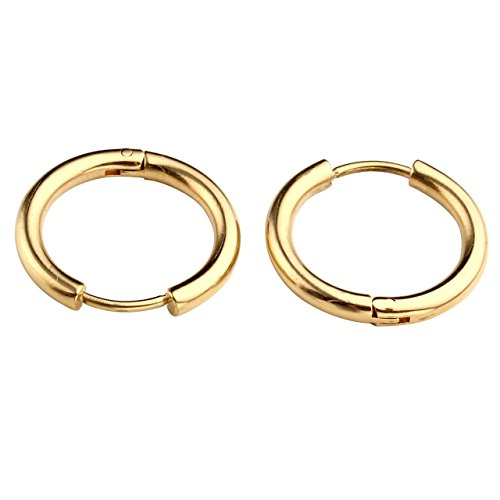 PiercingJ Paar Unisex 8-16mm Edelstahl Hoop Creolen Hinged Huggie Helix Tragus Ohrring Ohrpiercing Silber Gold Schwarz 18G (Gold 14mm)