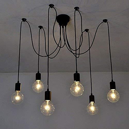 Signstek Deckenleuchte Lamp Industrial Vintage Stil Schmiedeeisen Large Semi Flush verwenden 8 E26 / 27 Edison Lampen in Schwarz für Studierzimmer Wohnzimmer Schlafzimmer (elegant 6)
