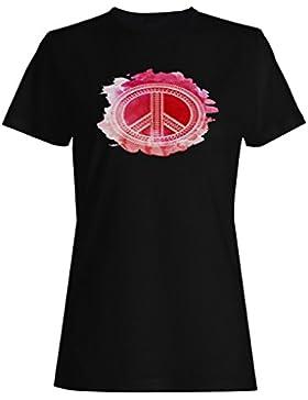 Símbolo de paz con tonos rojos camiseta de las mujeres g954f