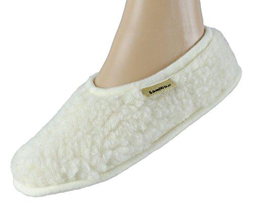 SamWo, Schafwoll-Wohlfühl Hausschuhe unisex,weiche rutschfeste Sohle,100 % Schafwolle Natur