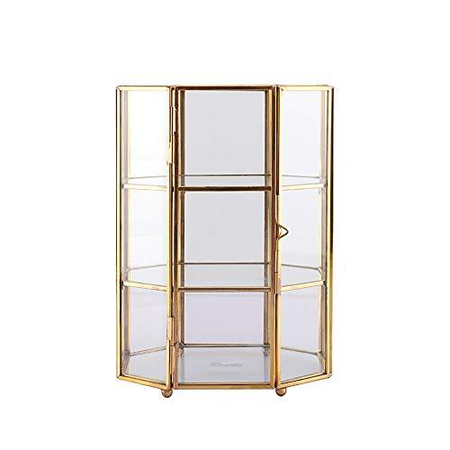 Kreative Retro Glas Aufbewahrungsbox, Kupfer Rand Licht Dekoration Wohnzimmer Schlafzimmer Office Home Kosmetik Ohrringe Ring Staub Aufbewahrungskorb