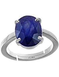 Clara Blue Sapphire Neelam 5.5cts or 6.25ratti stone 92.5 Sterling Silver Adjustable Ring For MEN