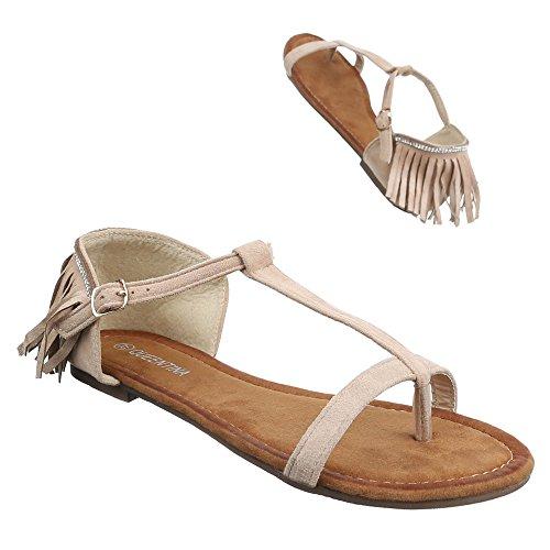Ital-Design Damen Schuhe, B26L-SF, Sandalen Zehentrenner Beige