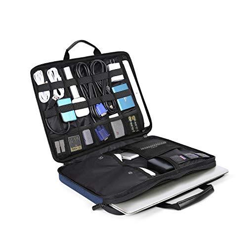 BAGSMART Laptop Aktentasche mit Elektronik Zubehör Organizer, Notebooktasche für 14 Zoll Laptop, 12.9 Zoll Tablet Kabel Ladegerät Netzteil Maus Powerbank, Blau -