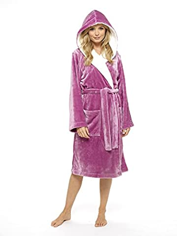 Luxury Dressing Gown Super SoftRobe with Fur Lined Hood Plush Bathrobe for Women-Perfect Gift(S, Orchid Pink)
