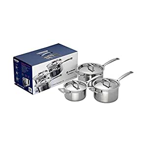 Le Creuset 3-Ply Stainless Steel Saucepan Set - Silver, 3 Pieces